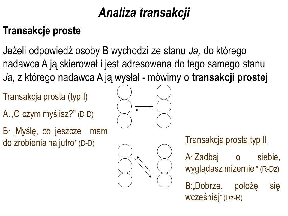 """Analiza transakcji Transakcje proste Jeżeli odpowiedź osoby B wychodzi ze stanu Ja, do którego nadawca A ją skierował i jest adresowana do tego samego stanu Ja, z którego nadawca A ją wysłał - mówimy o transakcji prostej Transakcja prosta (typ I) A : """" O czym myślisz? (D-D) B : """" Myślę, co jeszcze mam do zrobienia na jutro (D-D) Transakcja prosta typ II A : Zadbaj o siebie, wyglądasz mizernie (R-Dz) B:""""Dobrze, położę się wcześniej (Dz-R)"""