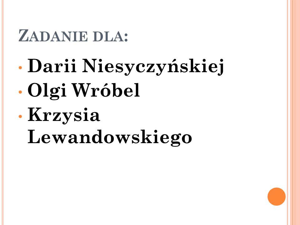 Z ADANIE DLA : Darii Niesyczyńskiej Olgi Wróbel Krzysia Lewandowskiego