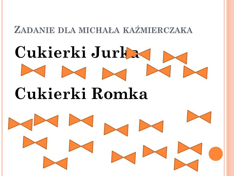 Z ADANIE DLA MICHAŁA KAŹMIERCZAKA Cukierki Jurka Cukierki Romka