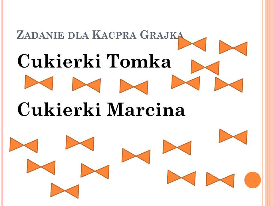 Z ADANIE DLA K ACPRA G RAJKA Cukierki Tomka Cukierki Marcina