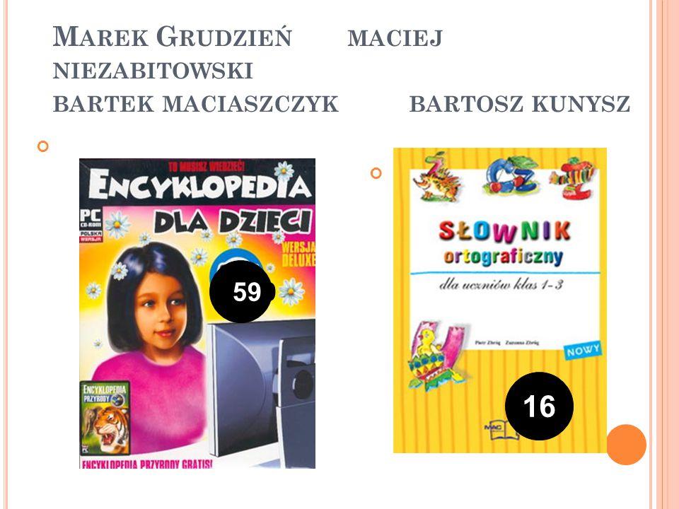 M AREK G RUDZIEŃ MACIEJ NIEZABITOWSKI BARTEK MACIASZCZYK BARTOSZ KUNYSZ 599 16