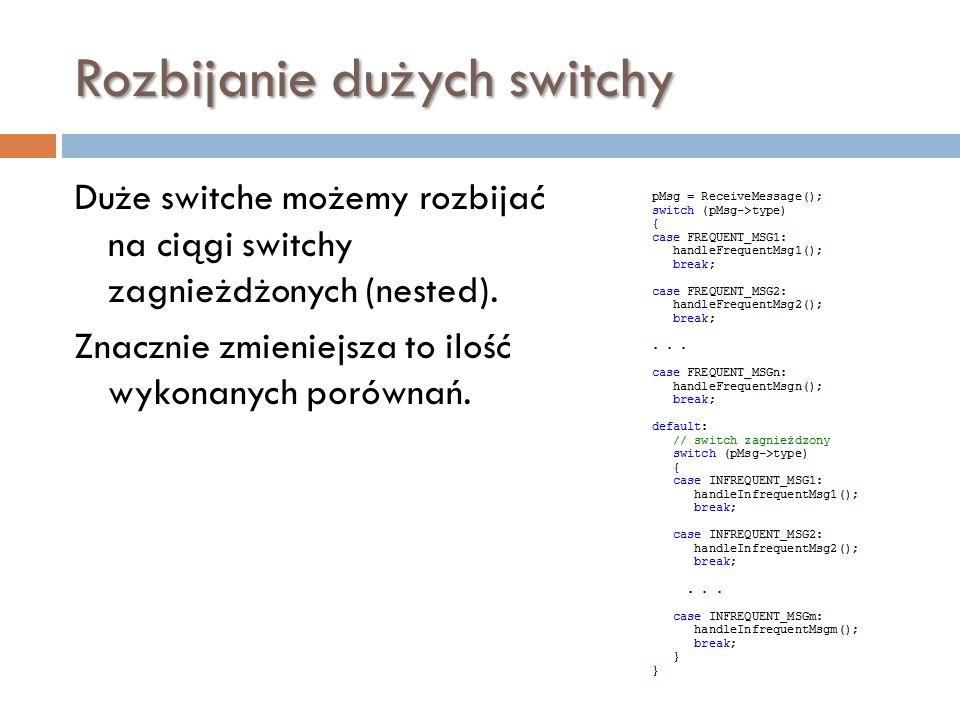 Rozbijanie dużych switchy Duże switche możemy rozbijać na ciągi switchy zagnieżdżonych (nested). Znacznie zmieniejsza to ilość wykonanych porównań.