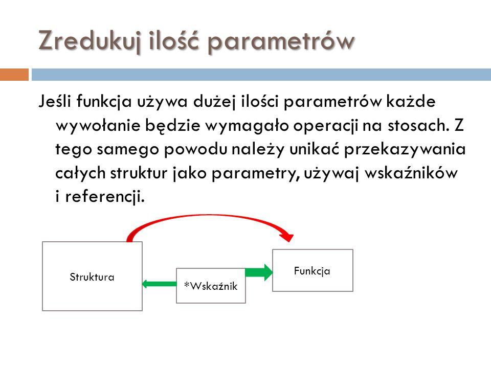 Zredukuj ilość parametrów Jeśli funkcja używa dużej ilości parametrów każde wywołanie będzie wymagało operacji na stosach. Z tego samego powodu należy