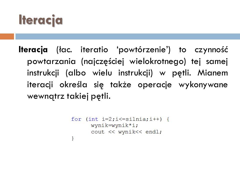 Iteracja Iteracja (łac. iteratio 'powtórzenie') to czynność powtarzania (najczęściej wielokrotnego) tej samej instrukcji (albo wielu instrukcji) w pęt