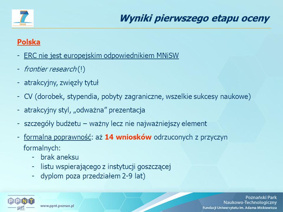 """Polska - ERC nie jest europejskim odpowiednikiem MNiSW - frontier research (!) - atrakcyjny, zwięzły tytuł - CV (dorobek, stypendia, pobyty zagraniczne, wszelkie sukcesy naukowe) - atrakcyjny styl, """"odważna prezentacja - szczegóły budżetu – ważny lecz nie najważniejszy element - formalna poprawność: aż 14 wniosków odrzuconych z przyczyn formalnych: -brak aneksu -listu wspierającego z instytucji goszczącej -dyplom poza przedziałem 2-9 lat) Wyniki pierwszego etapu oceny"""