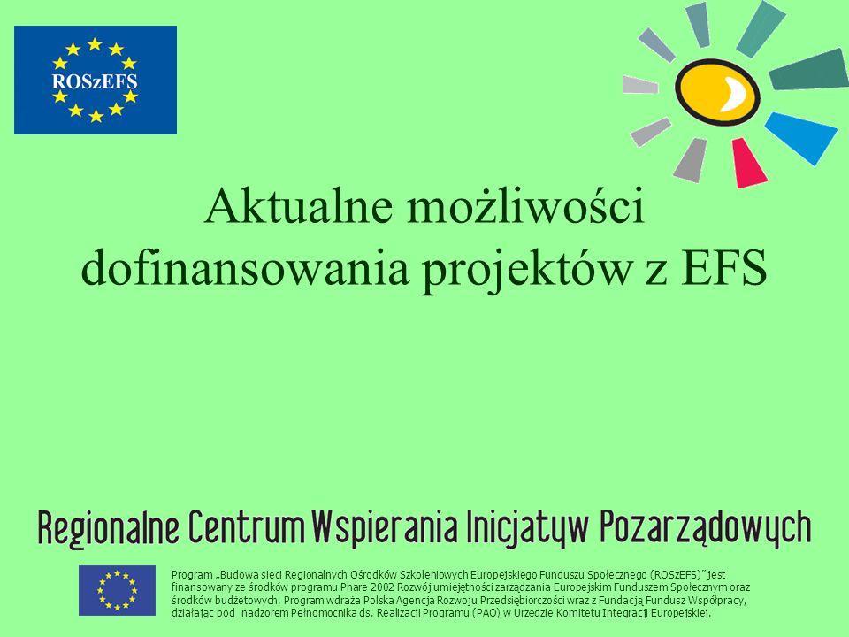 """Program """"Budowa sieci Regionalnych Ośrodków Szkoleniowych Europejskiego Funduszu Społecznego (ROSzEFS)"""" jest finansowany ze środków programu Phare 200"""