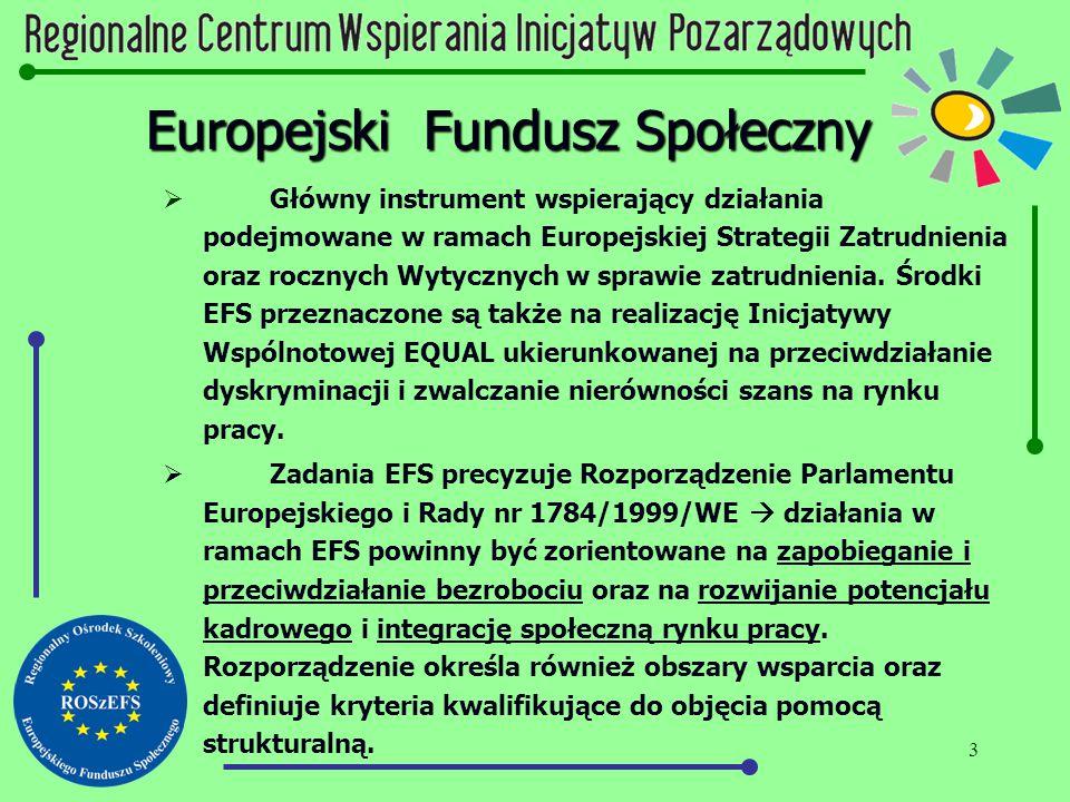 3 Europejski Fundusz Społeczny  Główny instrument wspierający działania podejmowane w ramach Europejskiej Strategii Zatrudnienia oraz rocznych Wytycz