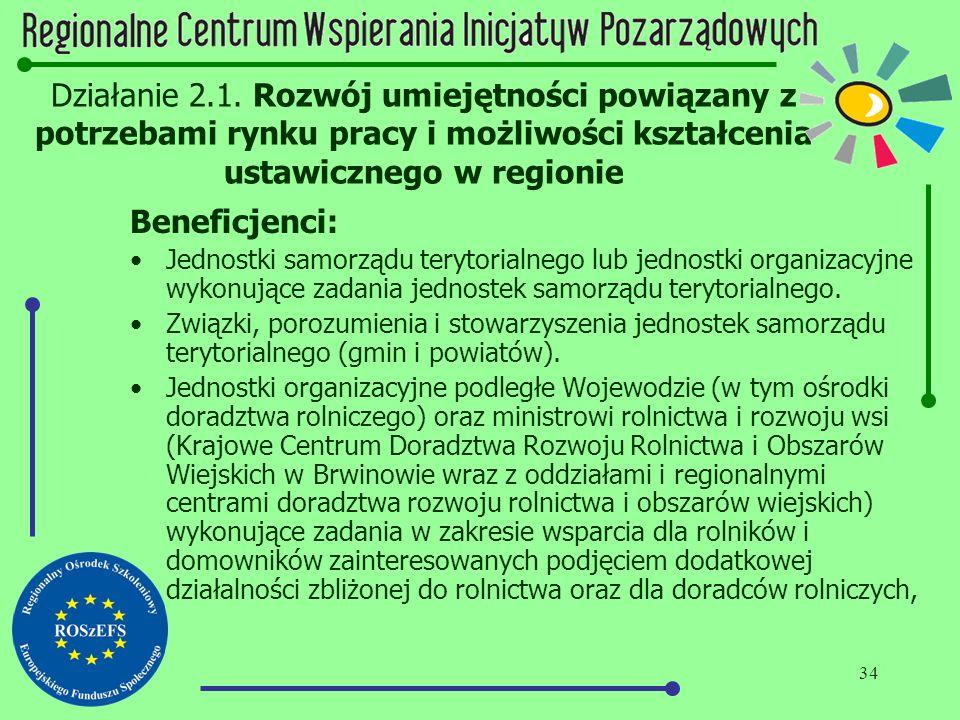34 Działanie 2.1. Rozwój umiejętności powiązany z potrzebami rynku pracy i możliwości kształcenia ustawicznego w regionie Beneficjenci: Jednostki samo