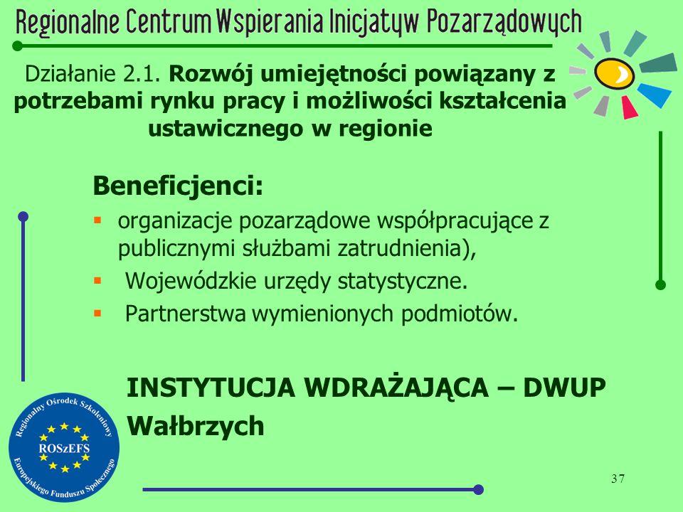 37 Działanie 2.1. Rozwój umiejętności powiązany z potrzebami rynku pracy i możliwości kształcenia ustawicznego w regionie Beneficjenci:  organizacje