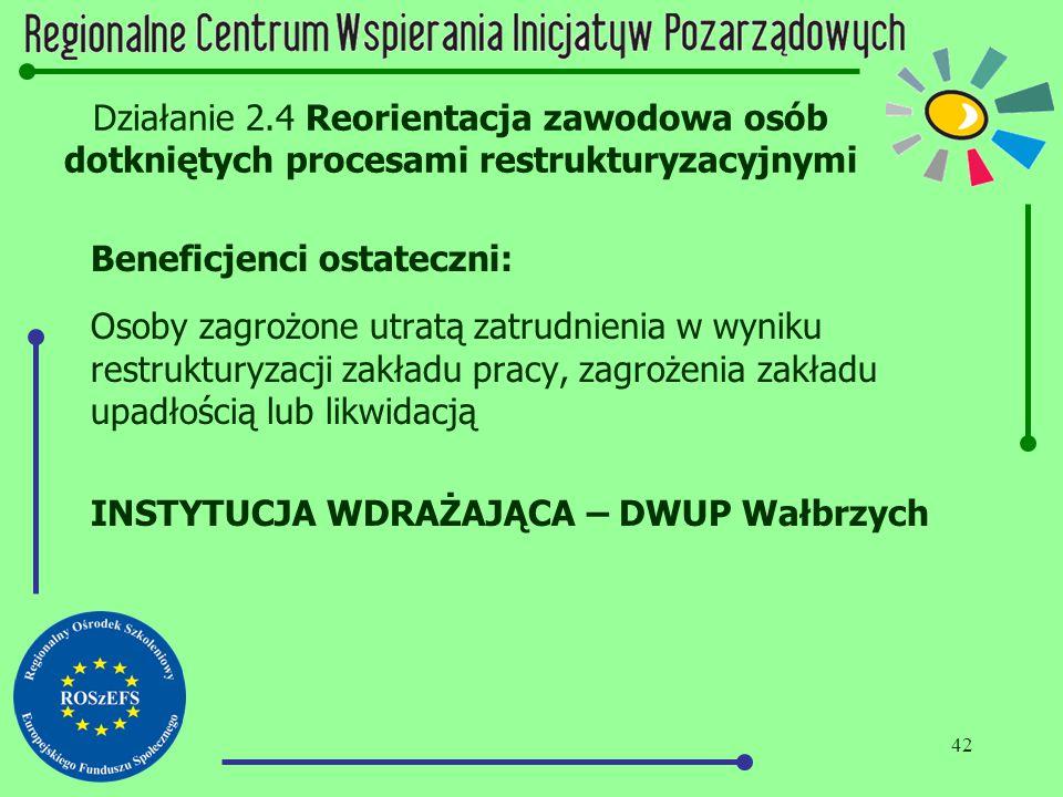 42 Działanie 2.4 Reorientacja zawodowa osób dotkniętych procesami restrukturyzacyjnymi Beneficjenci ostateczni: Osoby zagrożone utratą zatrudnienia w