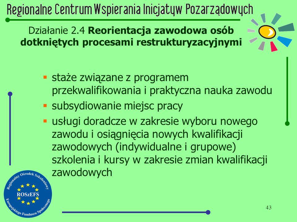 43 Działanie 2.4 Reorientacja zawodowa osób dotkniętych procesami restrukturyzacyjnymi  staże związane z programem przekwalifikowania i praktyczna na