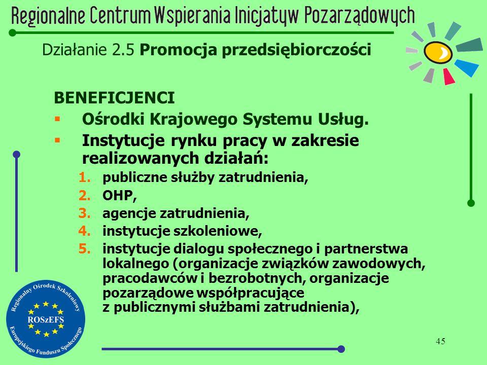 45 Działanie 2.5 Promocja przedsiębiorczości BENEFICJENCI  Ośrodki Krajowego Systemu Usług.  Instytucje rynku pracy w zakresie realizowanych działań