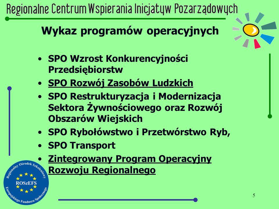 5 Wykaz programów operacyjnych SPO Wzrost Konkurencyjności Przedsiębiorstw SPO Rozwój Zasobów Ludzkich SPO Restrukturyzacja i Modernizacja Sektora Żyw
