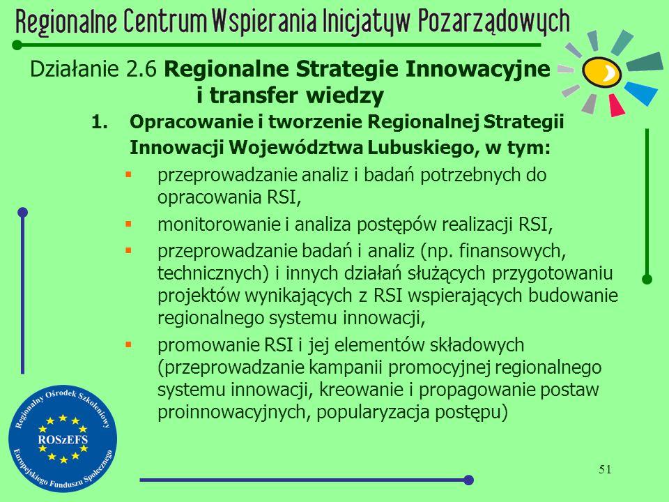 51 Działanie 2.6 Regionalne Strategie Innowacyjne i transfer wiedzy 1.Opracowanie i tworzenie Regionalnej Strategii Innowacji Województwa Lubuskiego,