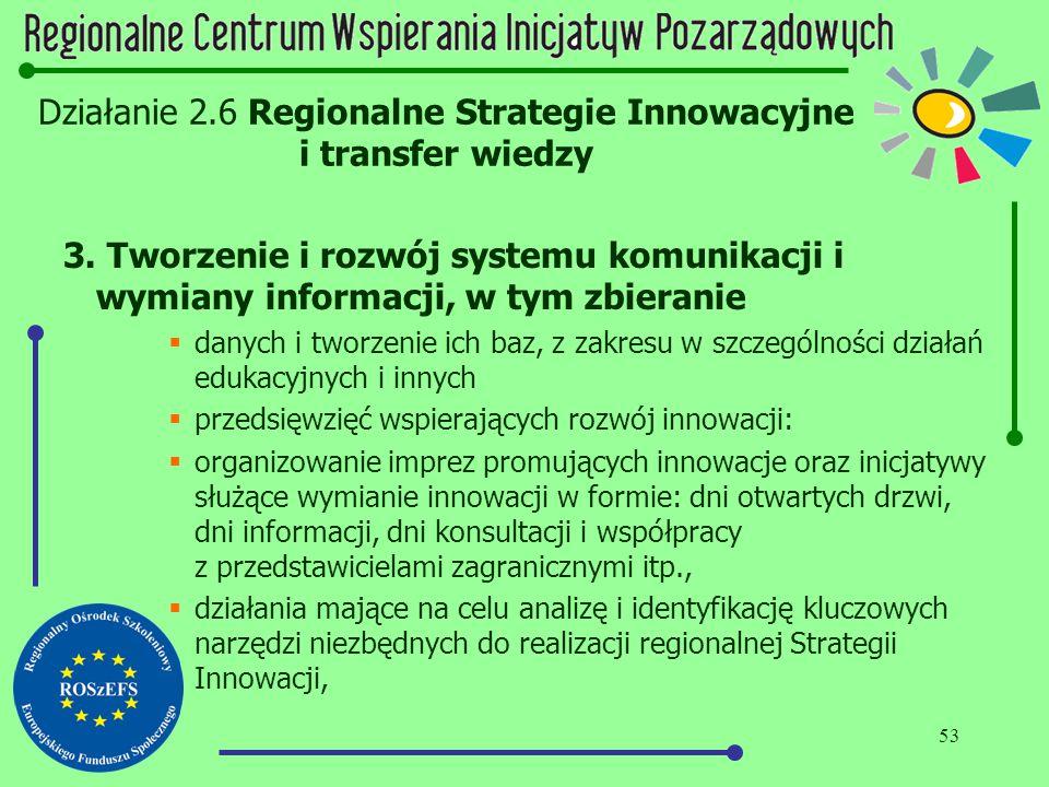 53 Działanie 2.6 Regionalne Strategie Innowacyjne i transfer wiedzy 3. Tworzenie i rozwój systemu komunikacji i wymiany informacji, w tym zbieranie 