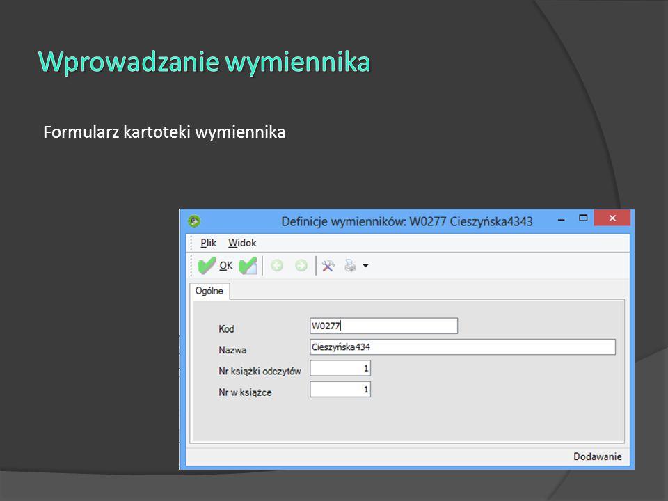 Ekran wprowadzania odczytów liczników