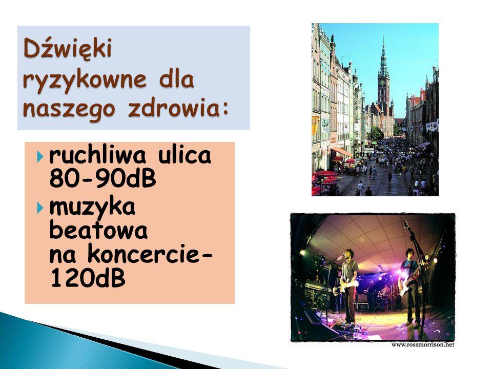  ruchliwa ulica 80-90dB  muzyka beatowa na koncercie- 120dB