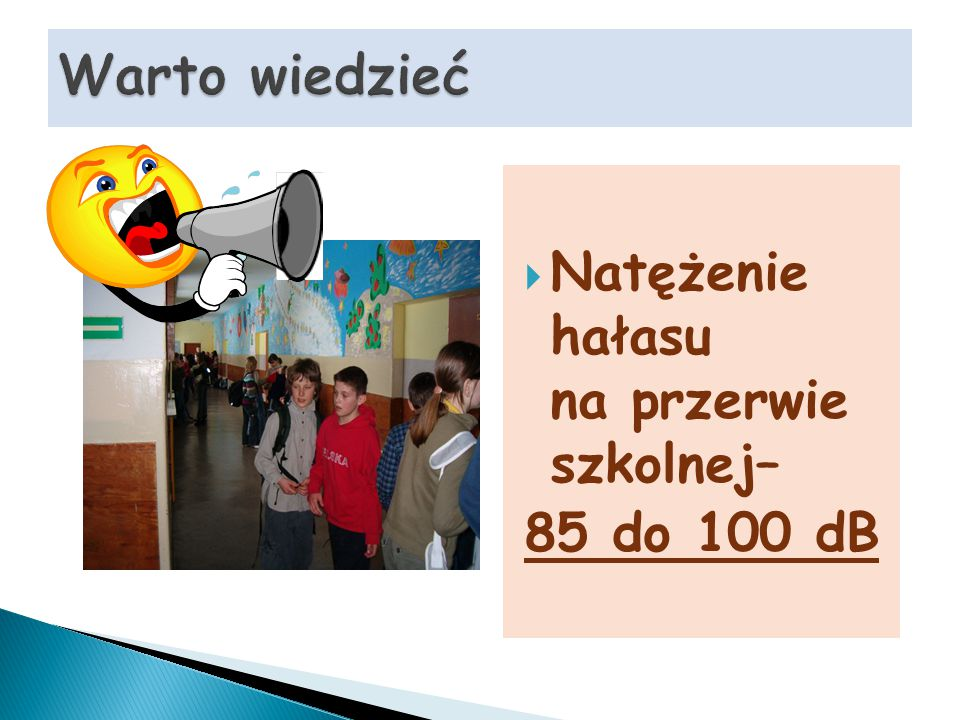  Natężenie hałasu na przerwie szkolnej– 85 do 100 dB