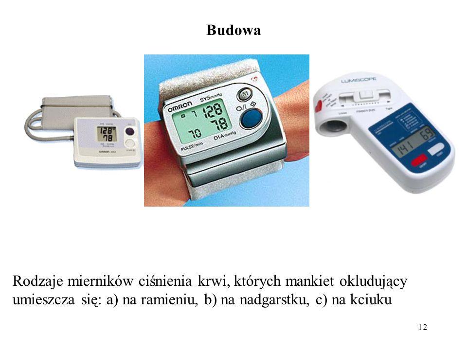 12 Rodzaje mierników ciśnienia krwi, których mankiet okludujący umieszcza się: a) na ramieniu, b) na nadgarstku, c) na kciuku Budowa