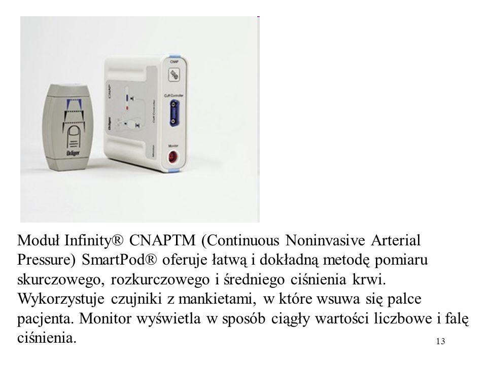13 Moduł Infinity® CNAPTM (Continuous Noninvasive Arterial Pressure) SmartPod® oferuje łatwą i dokładną metodę pomiaru skurczowego, rozkurczowego i śr