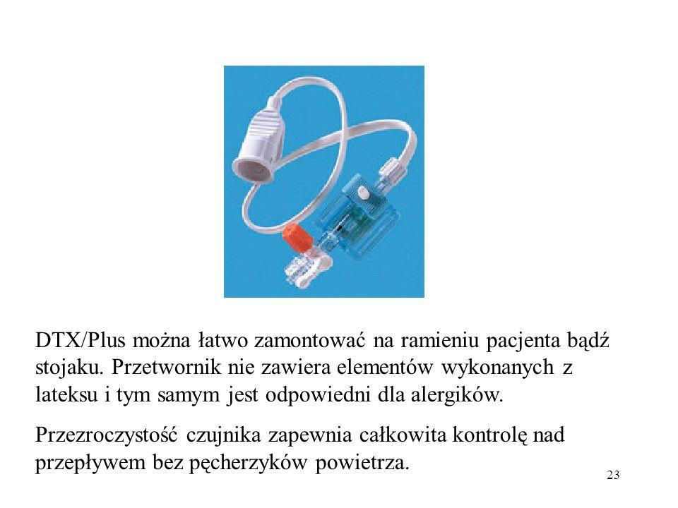 23 DTX/Plus można łatwo zamontować na ramieniu pacjenta bądź stojaku. Przetwornik nie zawiera elementów wykonanych z lateksu i tym samym jest odpowied