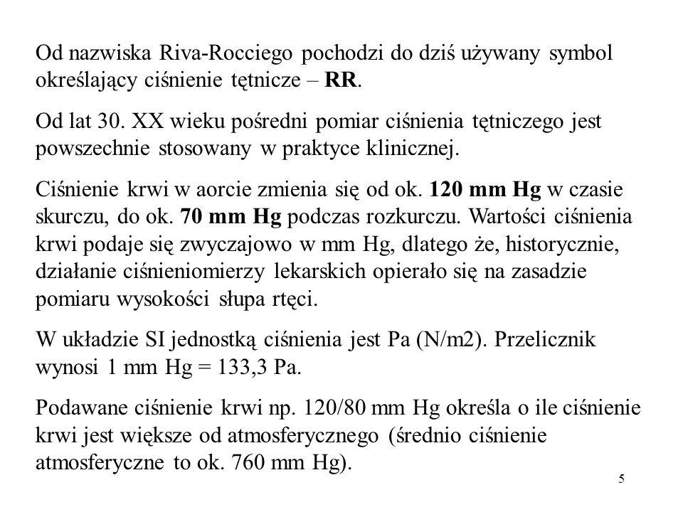 5 Od nazwiska Riva-Rocciego pochodzi do dziś używany symbol określający ciśnienie tętnicze – RR. Od lat 30. XX wieku pośredni pomiar ciśnienia tętnicz