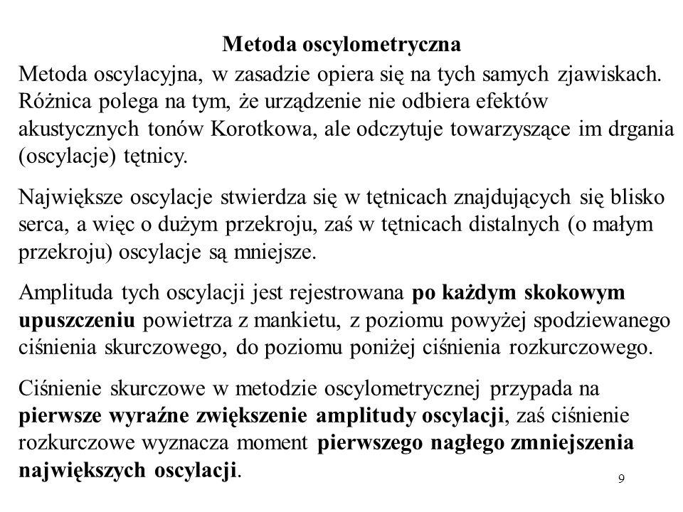 9 Metoda oscylacyjna, w zasadzie opiera się na tych samych zjawiskach. Różnica polega na tym, że urządzenie nie odbiera efektów akustycznych tonów Kor