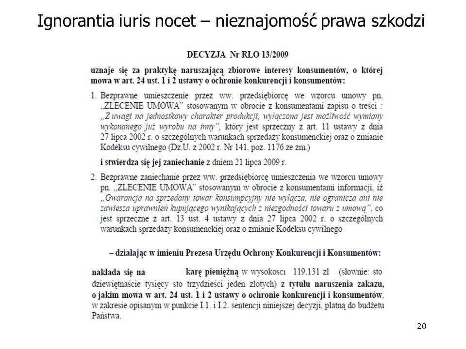 20 Ignorantia iuris nocet – nieznajomość prawa szkodzi