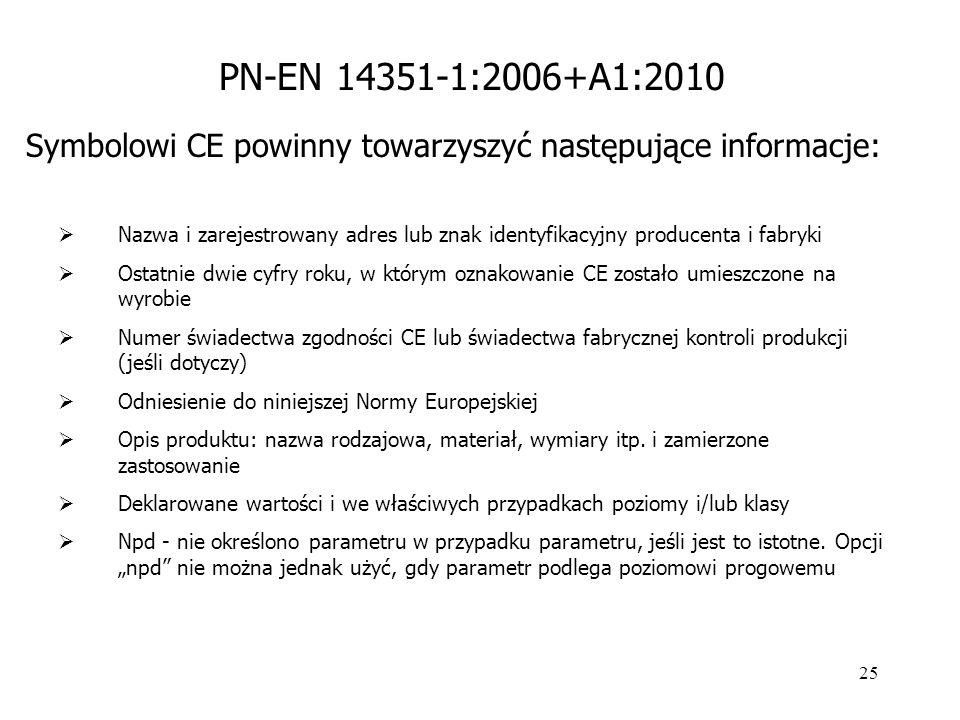 25 Symbolowi CE powinny towarzyszyć następujące informacje:  Nazwa i zarejestrowany adres lub znak identyfikacyjny producenta i fabryki  Ostatnie dw