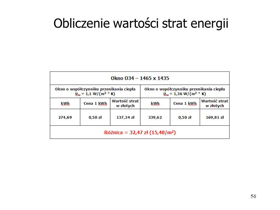 56 Obliczenie wartości strat energii