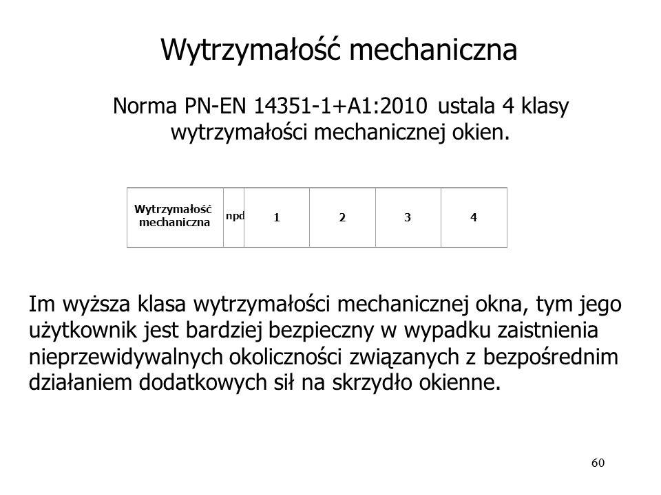 60 Norma PN-EN 14351-1+A1:2010 ustala 4 klasy wytrzymałości mechanicznej okien. Wytrzymałość mechaniczna npd 1234 Im wyższa klasa wytrzymałości mechan