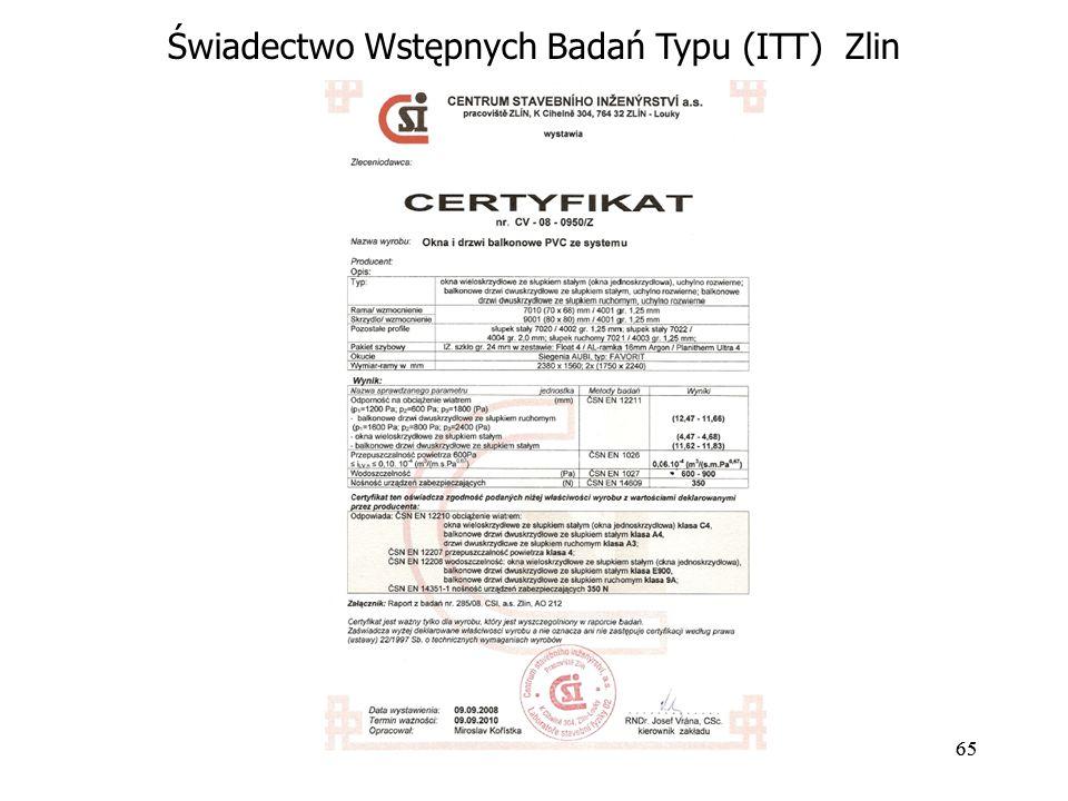 65 Świadectwo Wstępnych Badań Typu (ITT) Zlin