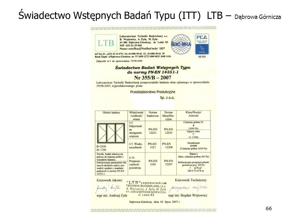 66 Świadectwo Wstępnych Badań Typu (ITT) LTB – Dąbrowa Górnicza