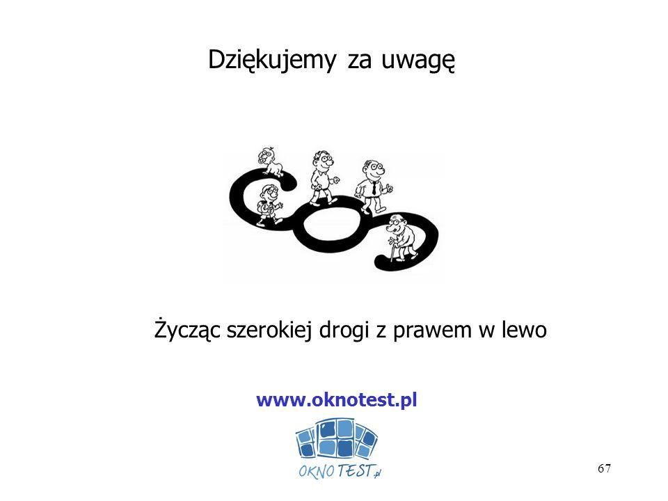 67 Dziękujemy za uwagę Życząc szerokiej drogi z prawem w lewo www.oknotest.pl