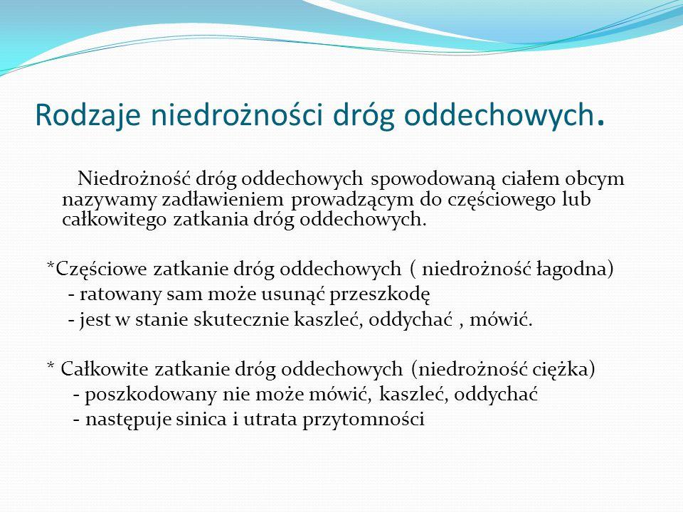 Rodzaje niedrożności dróg oddechowych. Niedrożność dróg oddechowych spowodowaną ciałem obcym nazywamy zadławieniem prowadzącym do częściowego lub całk