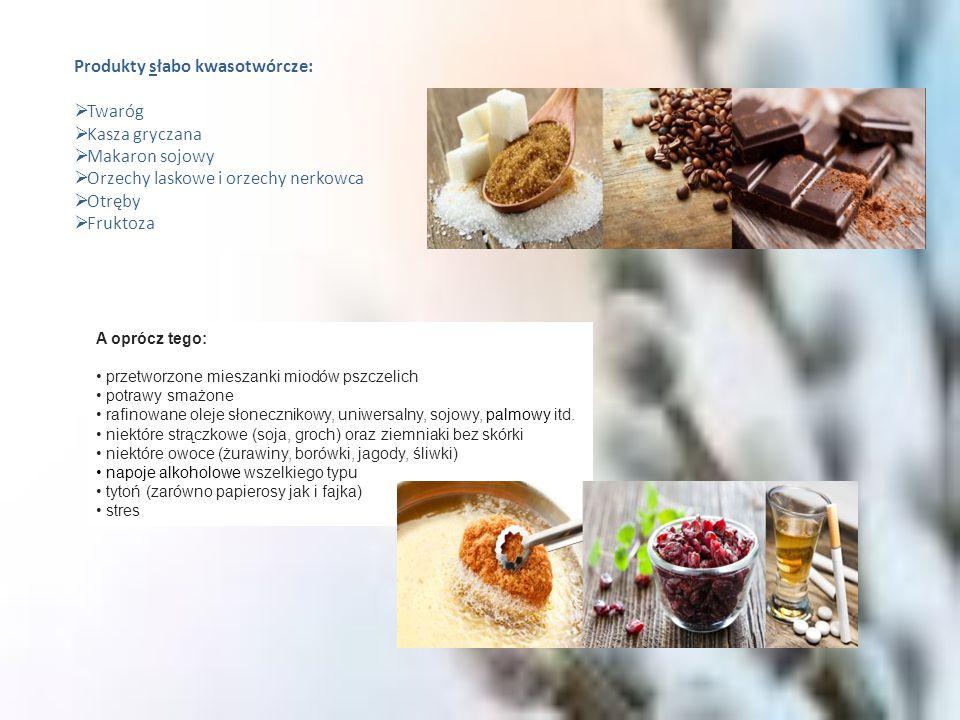 Produkty neutralne: Masło świeże Śmietana Serwatka Jogurt naturalny Oleje roślinne Lista produktów o silnych właściwościach alkalizujących, czyli odkwaszających Produkty wysoko zasadotwórcze:  Warzywa: bakłażany, dynie, cukinie, ogórki, sałaty liściaste, botwina, szpinak (surowy), czarna rzodkiew  Soki warzywne świeże bez cukru  Owoce: kiwi, arbuz, ananas  Soki owocowe świeże bez cukru  Owoce: daktyle, figi, rodzynki  Grzyby: prawdziwki, kurki Produkty średnio zasadotwórcze:  Warzywa: buraki, brokuły, kapusta, marchew, seler, pomidory, chrzan, fasolka szparagowa, kalarepa, por, szczaw, szpinak (gotowany)  Owoce: dojrzałe banany, słodkie brzoskwinie, mandarynki, pomarańcze, cytryny, maliny, truskawki, awokado, dojrzałe winogrona