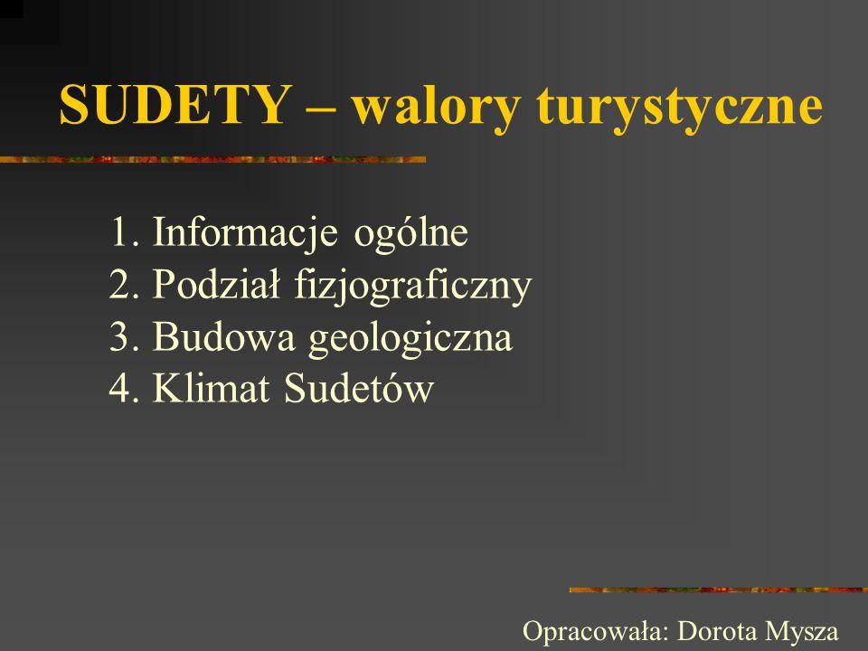 SUDETY – walory turystyczne 1.Informacje ogólne 2.Podział fizjograficzny 3.Budowa geologiczna 4.Klimat Sudetów Opracowała: Dorota Mysza
