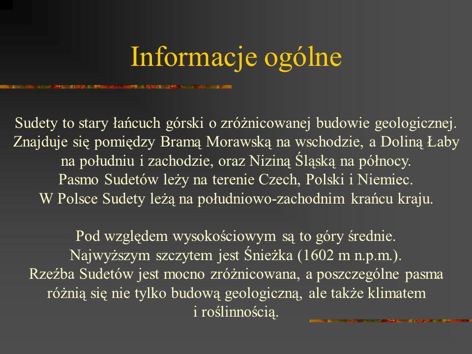 Informacje ogólne Sudety to stary łańcuch górski o zróżnicowanej budowie geologicznej. Znajduje się pomiędzy Bramą Morawską na wschodzie, a Doliną Łab
