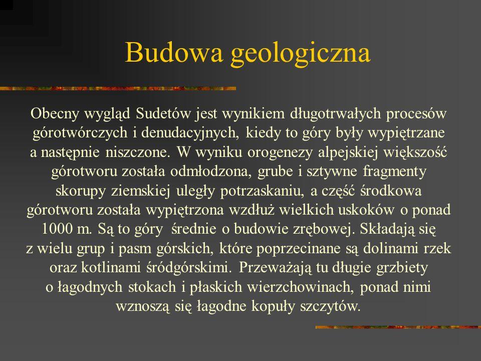 Budowa geologiczna Obecny wygląd Sudetów jest wynikiem długotrwałych procesów górotwórczych i denudacyjnych, kiedy to góry były wypiętrzane a następni