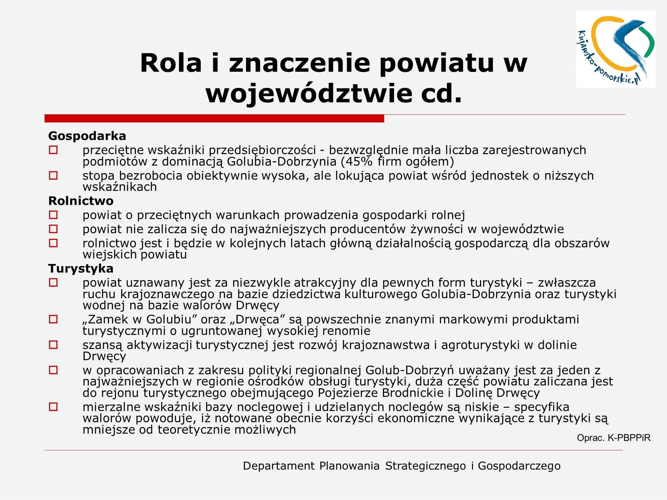 Departament Planowania Strategicznego i Gospodarczego Rola i znaczenie powiatu w województwie cd.