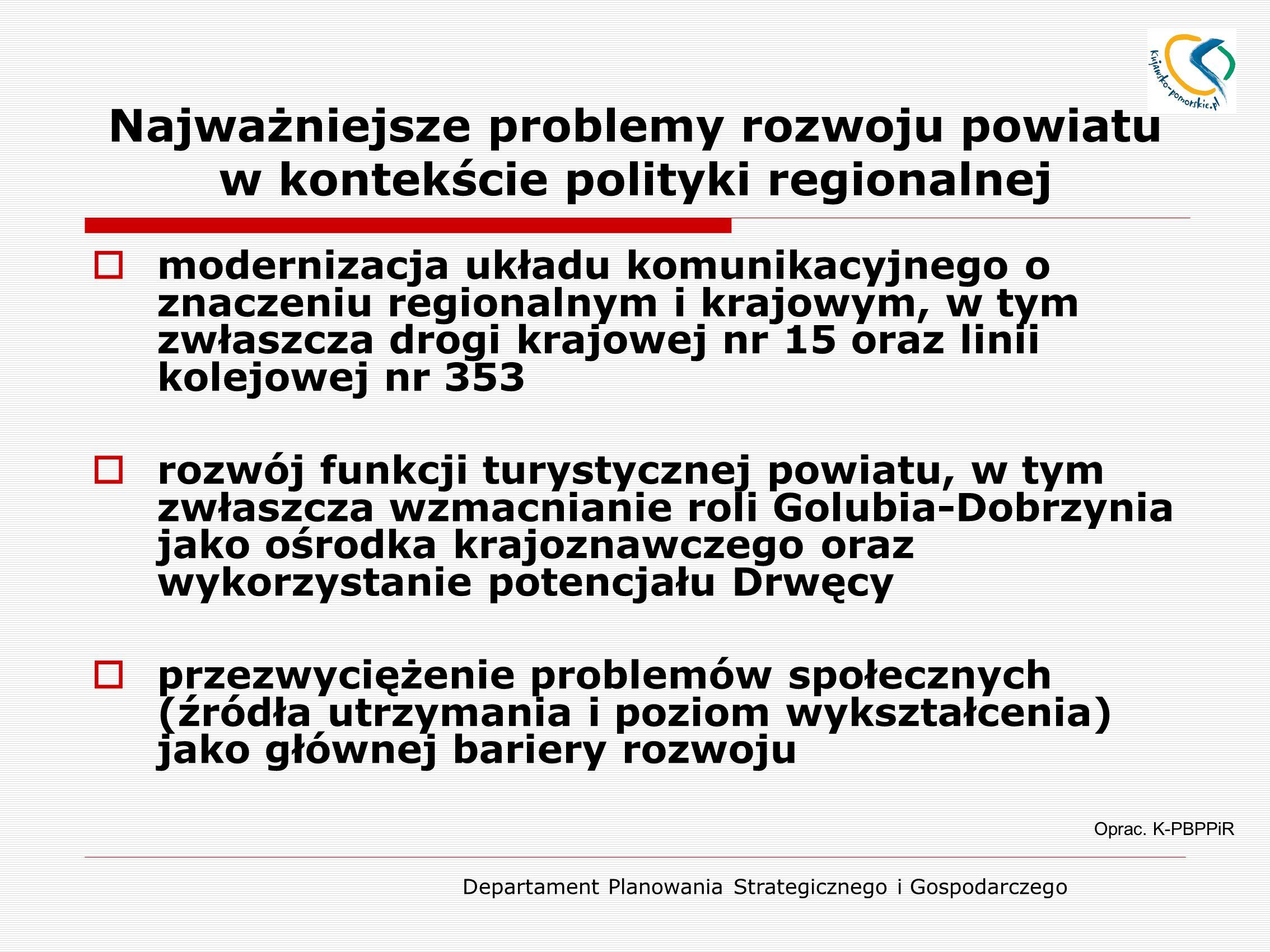 Departament Planowania Strategicznego i Gospodarczego Najważniejsze problemy rozwoju powiatu w kontekście polityki regionalnej  modernizacja układu komunikacyjnego o znaczeniu regionalnym i krajowym, w tym zwłaszcza drogi krajowej nr 15 oraz linii kolejowej nr 353  rozwój funkcji turystycznej powiatu, w tym zwłaszcza wzmacnianie roli Golubia-Dobrzynia jako ośrodka krajoznawczego oraz wykorzystanie potencjału Drwęcy  przezwyciężenie problemów społecznych (źródła utrzymania i poziom wykształcenia) jako głównej bariery rozwoju Oprac.