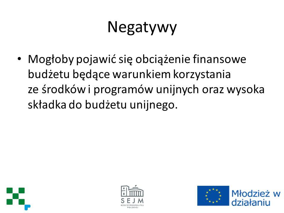 Negatywy Mogłoby pojawić się obciążenie finansowe budżetu będące warunkiem korzystania ze środków i programów unijnych oraz wysoka składka do budżetu unijnego.