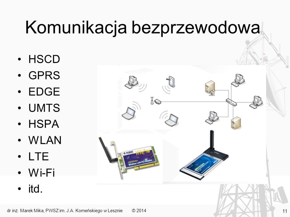 Komunikacja bezprzewodowa HSCD GPRS EDGE UMTS HSPA WLAN LTE Wi-Fi itd. © 2014dr inż. Marek Mika, PWSZ im. J.A. Komeńskiego w Lesznie 11