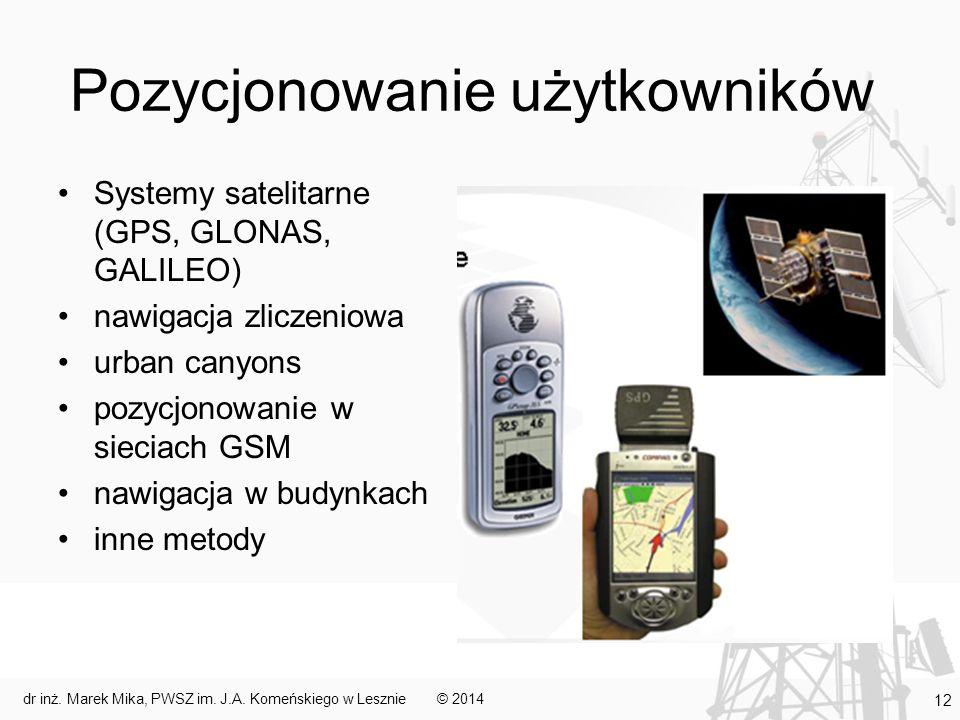 Pozycjonowanie użytkowników Systemy satelitarne (GPS, GLONAS, GALILEO) nawigacja zliczeniowa urban canyons pozycjonowanie w sieciach GSM nawigacja w b