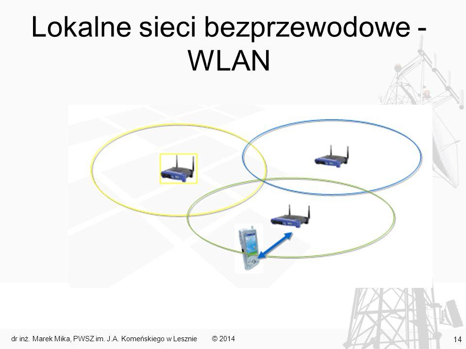 Lokalne sieci bezprzewodowe - WLAN © 2014dr inż. Marek Mika, PWSZ im. J.A. Komeńskiego w Lesznie 14