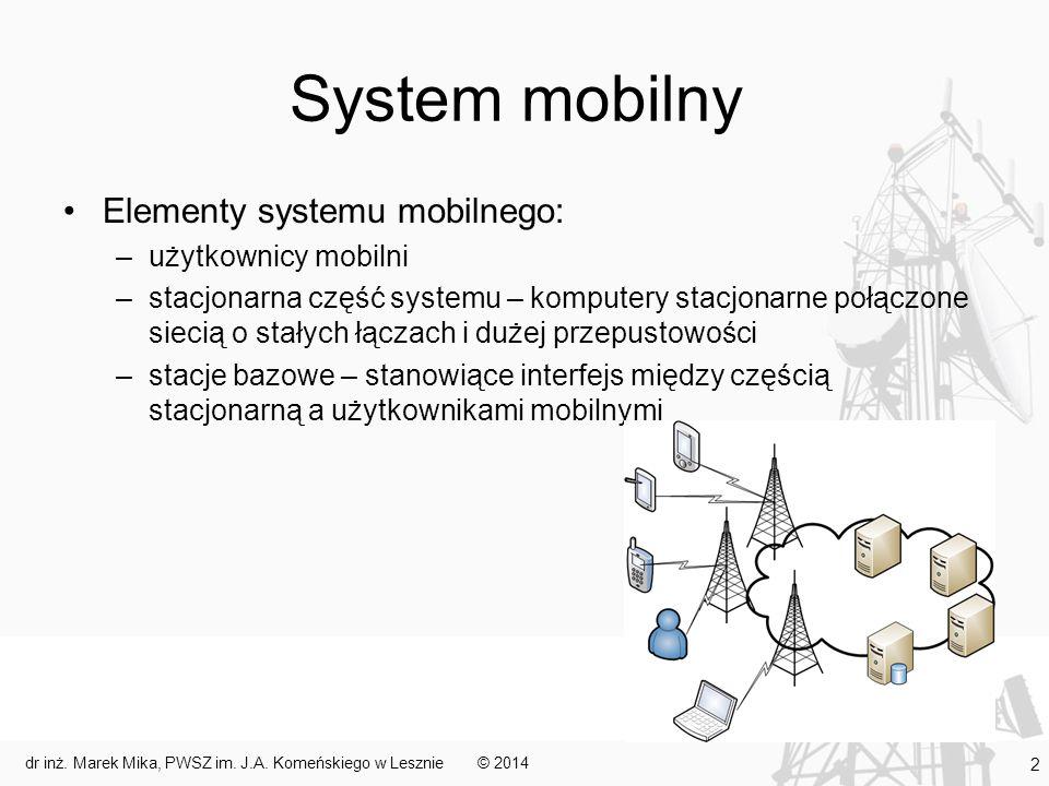 System mobilny Elementy systemu mobilnego: –użytkownicy mobilni –stacjonarna część systemu – komputery stacjonarne połączone siecią o stałych łączach