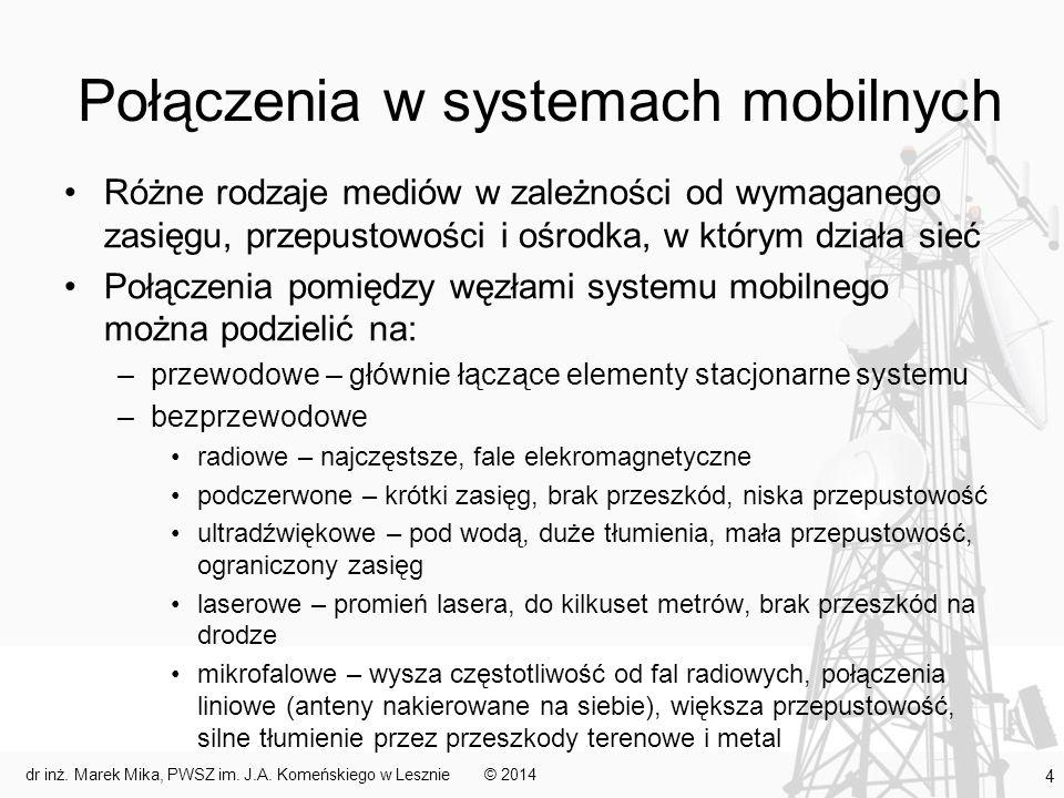 Połączenia w systemach mobilnych Różne rodzaje mediów w zależności od wymaganego zasięgu, przepustowości i ośrodka, w którym działa sieć Połączenia po