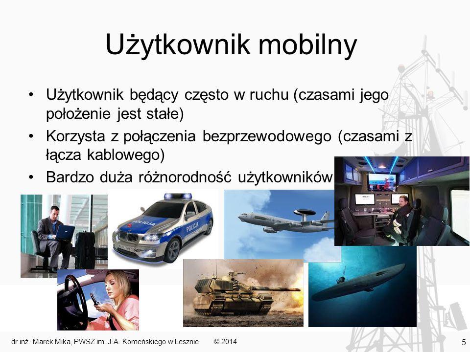 Bezprzewodowość a mobilność Bezprzewodowość nie jest tym samym co mobilność Możliwe przypadki: –użytkownik stacjonarny i połączony przewodowo – jest elementem systemu rozproszonego –użytkownik stacjonarny i połączony bezprzewodowo – element infrastruktury systemu mobilnego korzystający z interfejsu bezprzewodowego –użytkownik mobilny i połączony bezprzewodowo – typowy element systemu mobilnego –użytkownik mobilny i połączony przewodowo - możliwe © 2014dr inż.