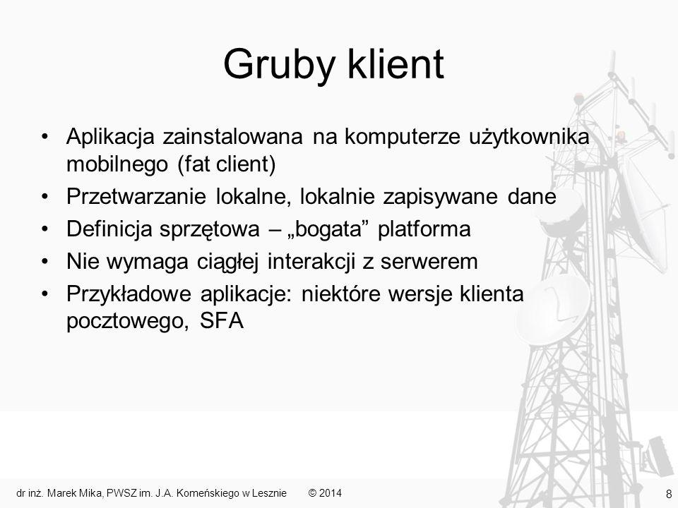 Gruby klient Aplikacja zainstalowana na komputerze użytkownika mobilnego (fat client) Przetwarzanie lokalne, lokalnie zapisywane dane Definicja sprzęt