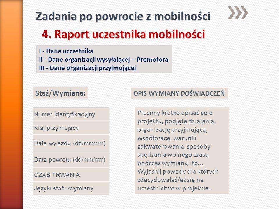Zadania po powrocie z mobilności 4. Raport uczestnika mobilności I - Dane uczestnika II - Dane organizacji wysyłającej – Promotora III - Dane organiza